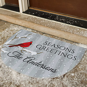 Personalized Cardinals Seasons Greetings Doormat | Personalized Doormats