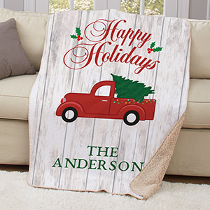 Personalized Happy Holidays Truck Throw | Personalized Blankets