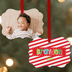 Personalized Candy Cane Photo Benelux Ornament | Photo Ornaments