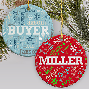 Personalized Holiday Word-Art Round Ornament | Personalized Ornaments For Families