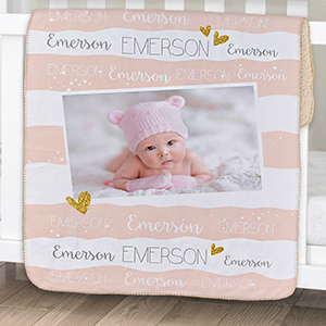 Personalized Hearts and Stripes Photo Sherpa Baby Blanket | Personalized Baby Blankets