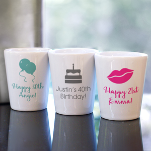 Personalized Birthday Icon Shot Glass | Personalized Shot Glasses