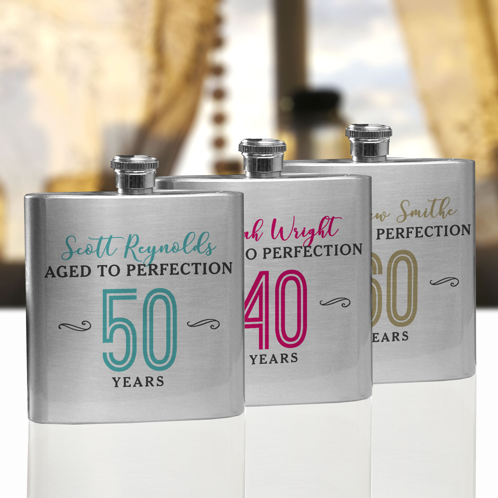 Personalized Aged to Perfection Flask | Personalized Flasks