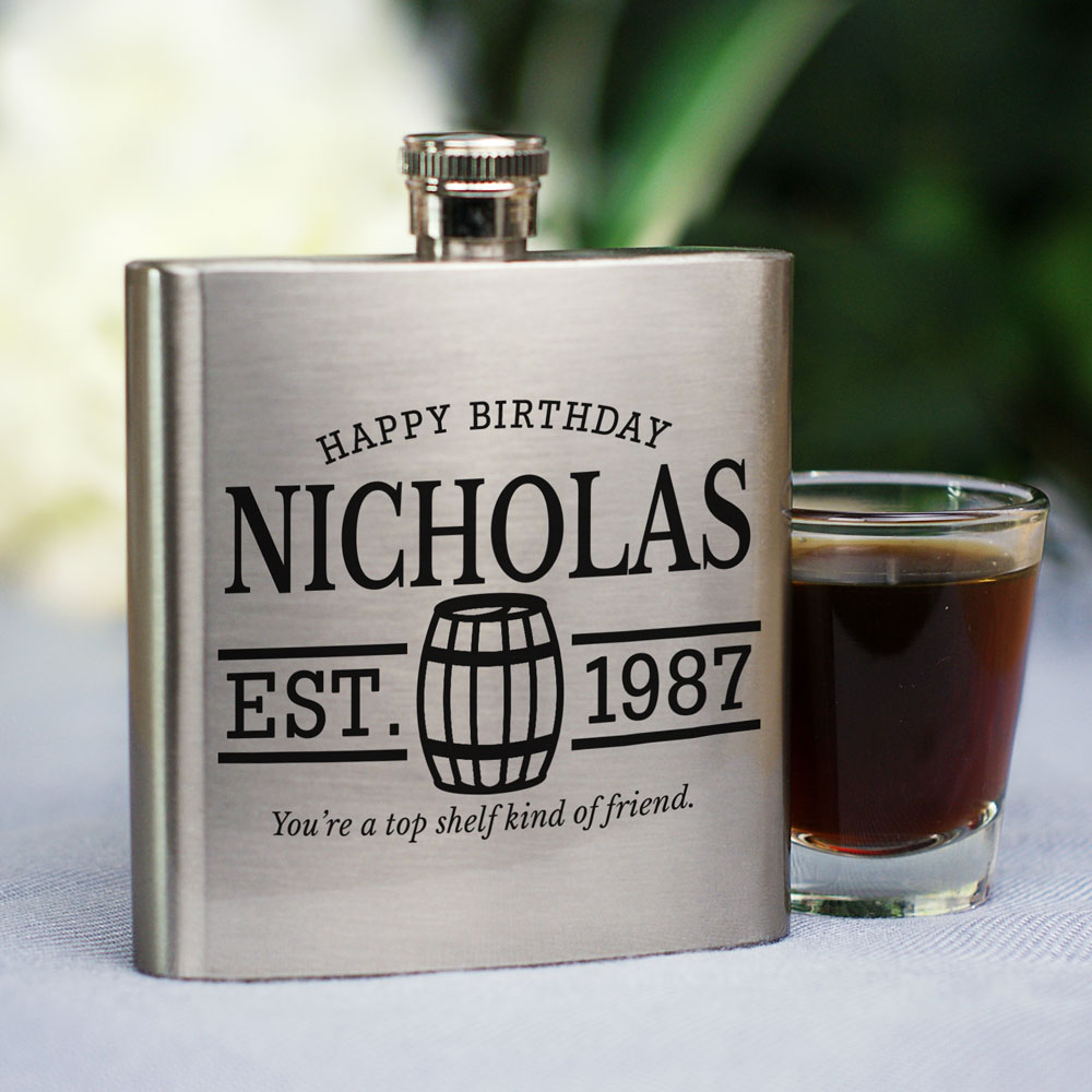 Personalized You're A Top Shelf Friend Flask | Personalized Birthday Gifts For Him