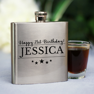Personalized Happy Birthday Flask | Personalized Flask