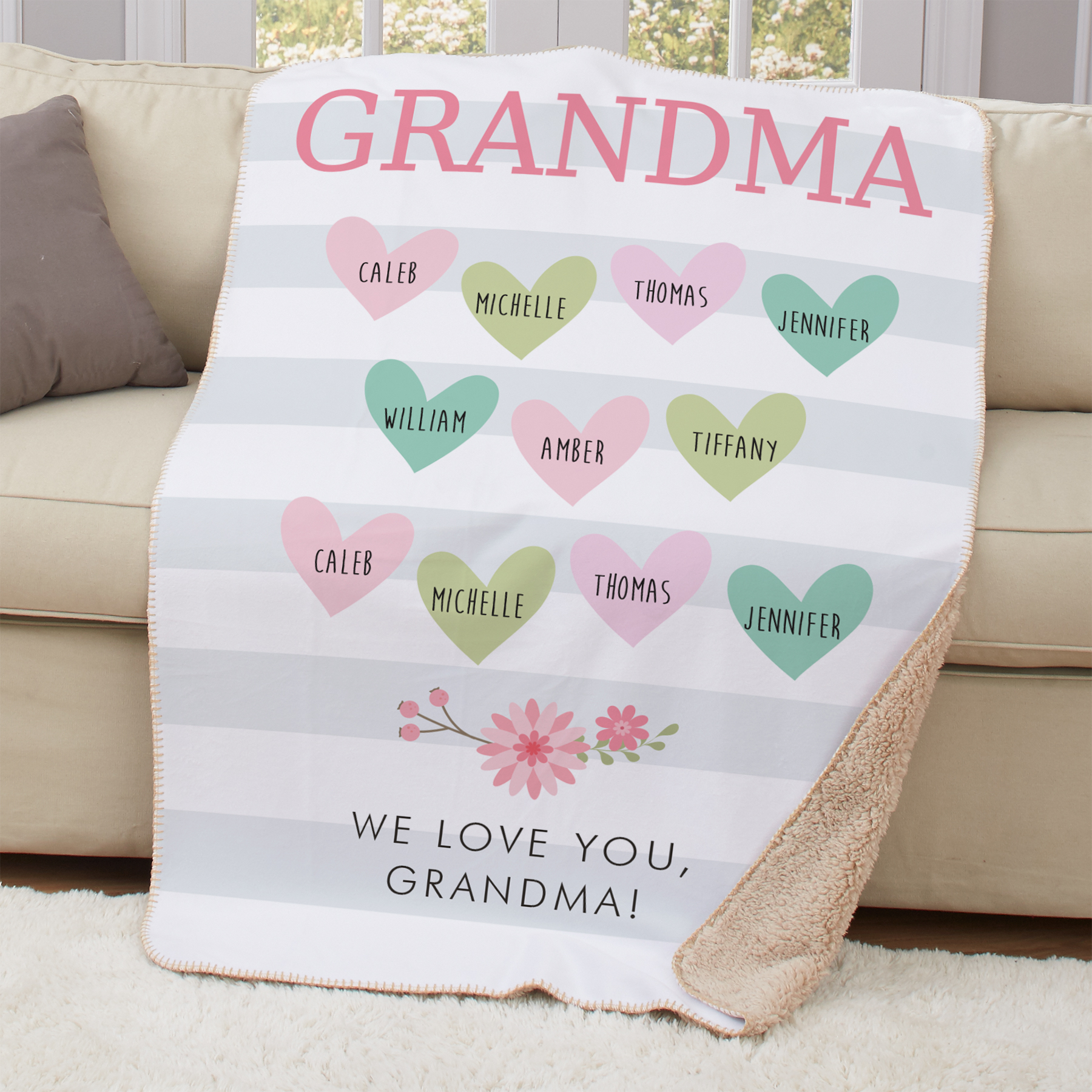 Personalized Nana Floral Stripe Sherpa Throw | Personalized Blankets For Grandma