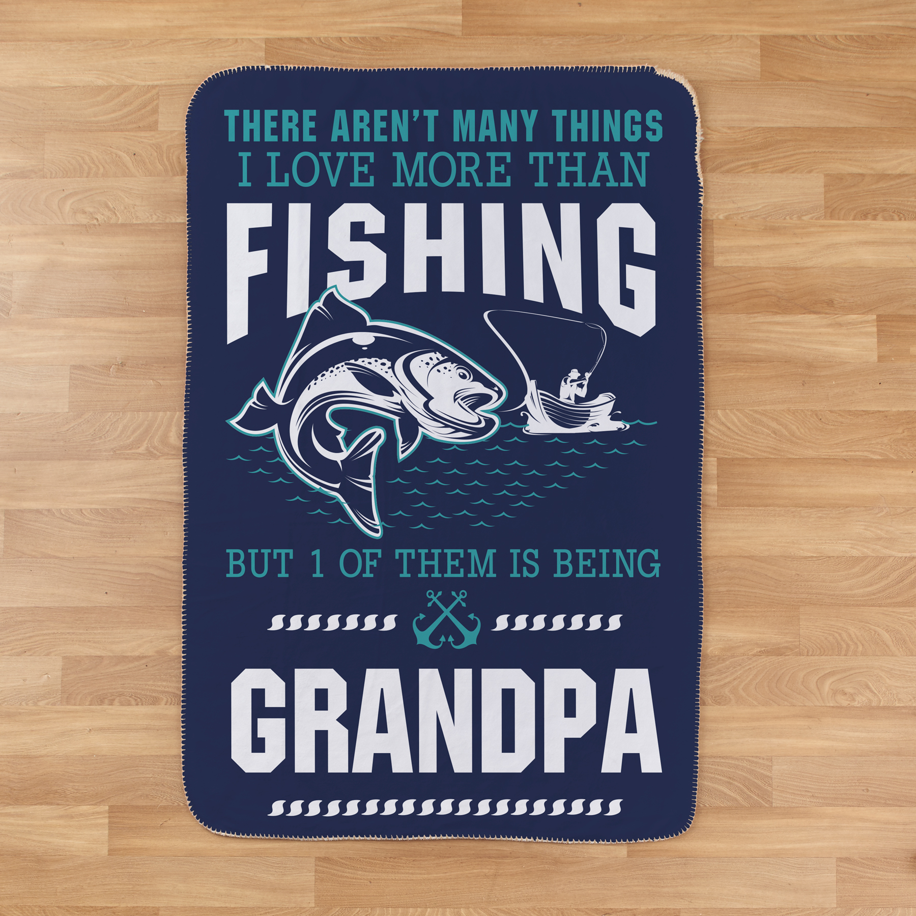 Personalized Love More Than Fishing Sherpa Blanket | Personalized Blankets