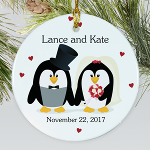 Personalized Ceramic Penguin Bride and Groom Ornament | Personalized Couples Ornament