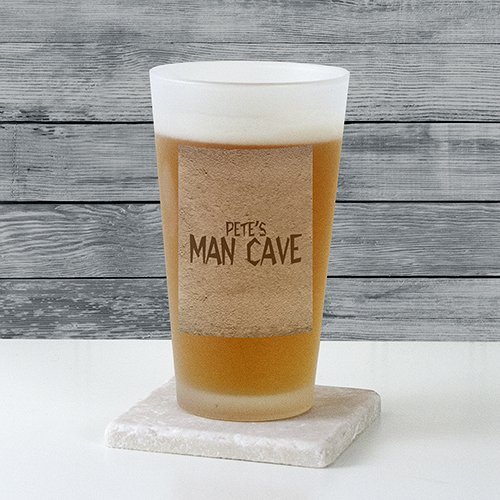 Personalized Man Cave Frosted Pint Glass | Personalized Gifts for Him
