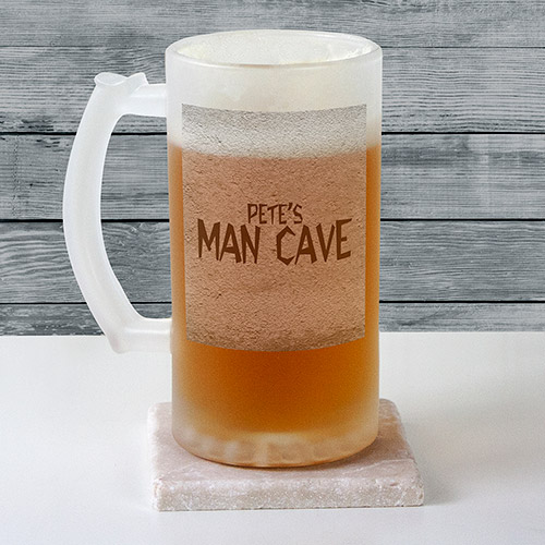 Personalized Man Cave Frosted Glass Stein | Mancave Gifts