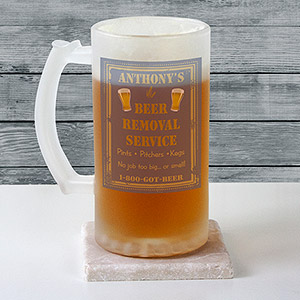 Personalized Beer Removal Frosted Stein Glass U3133106