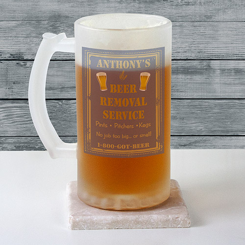 Personalized Beer Removal Frosted Stein Glass | Personalized Gifts for Him