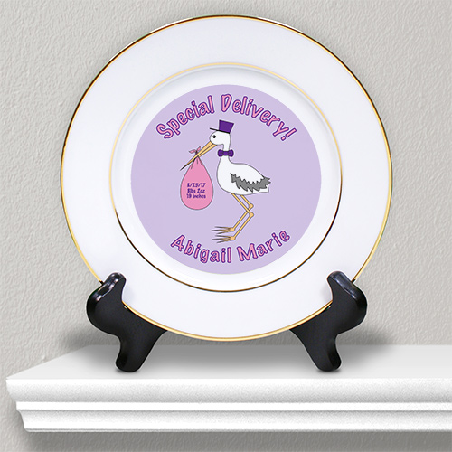 Special Delivery Baby Girl Announcement Ceramic Plate U369712