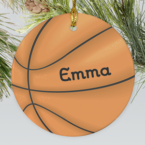Basketball Personalized Ceramic Ornament | Personalized Basketball Ornament