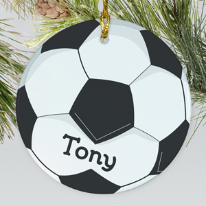 Soccer Ball Personalized Ceramic Ornament | Personalized Soccer Ornaments