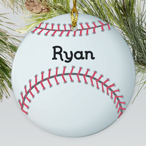 Personalized Baseball Ceramic Ornament | Personalized Sports Ornaments