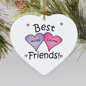 Personalized Ceramic Best Friends Ornament | Personalized Christmas Ornaments For Kids