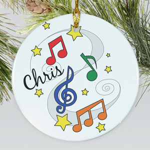 Personalized Ceramic Music Notes Ornament |Personalized Christmas Ornaments For Kids
