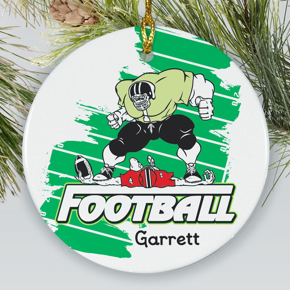 Personalized Football Player Ceramic Ornament | Football Ornaments Personalized