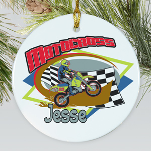 Personalized Ceramic Motocross Ornament U376910