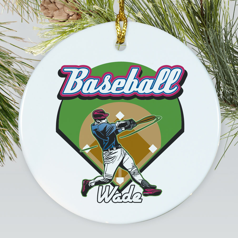 Personalized Ceramic Baseball Ornament | Personalized Sports Ornaments