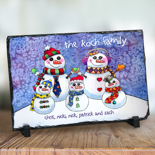 Personalized Snowman Family Stone Keepsake U377267