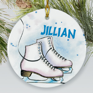 Personalized Ceramic Ice Skating Ornament | Personalized Sports Ornaments