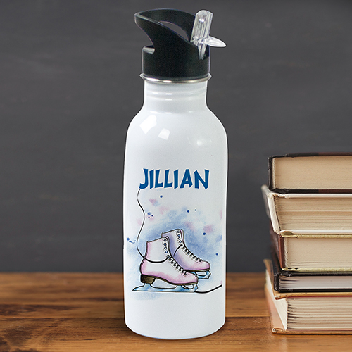 Personalized Ice Skating Water Bottle U381420