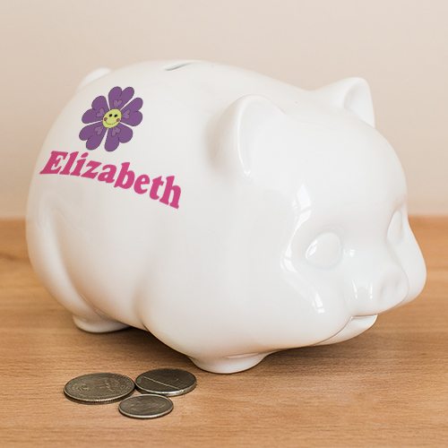 Personalized Flower Piggy Bank U392619