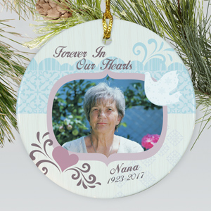 Personalized Ceramic Forever In Our Hearts Memorial Photo Ornament | Memorial Christmas Ornaments