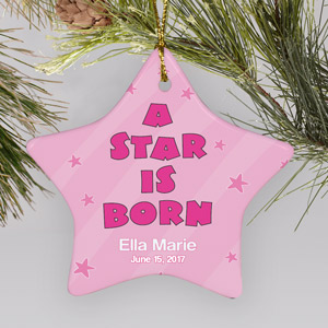 Personalized Ceramic Baby Girl Star Ornament | Baby's First Christmas Ornaments