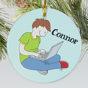 Personalized Ceramic Laptop Ornament | Personalized Christmas Ornaments For Kids