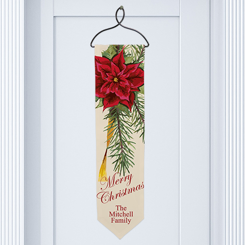 Personalized Poinsettia Christmas Banner U489428