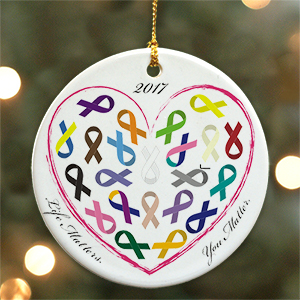 Personalized Ceramic Life Matters Awareness Ornament U619610