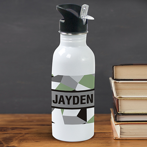 Personalized Jagged Squares Water Bottle U681620