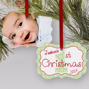 Personalized 1st Christmas Photo Ornament | Baby's First Christmas Ornaments