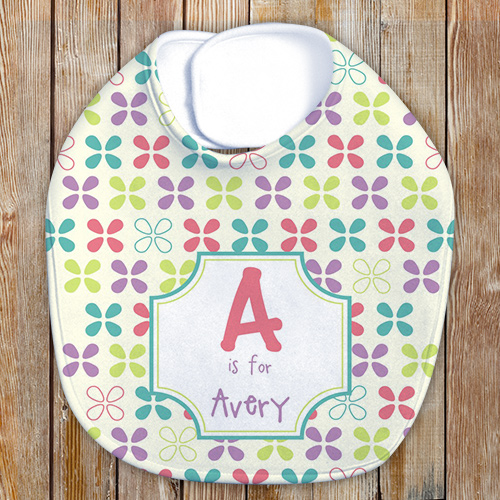 Name and Initial Baby Girl Personalized Bib | Customized Baby Gifts