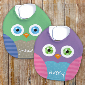 Personalized Owl Baby Bib | Personalized Baby Bibs
