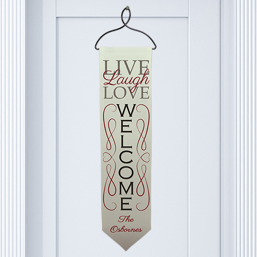 Personalized Live, Laugh, Love Welcome Banner | Gifts for the Home