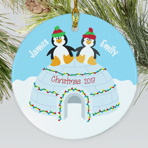 Personalized Ceramic Penguin Couple Ornament | Personalized Couples Ornament