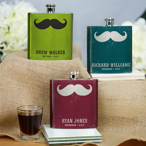 Personalized Mustache Wedding Party Flask | Personalized Groomsmen Flasks
