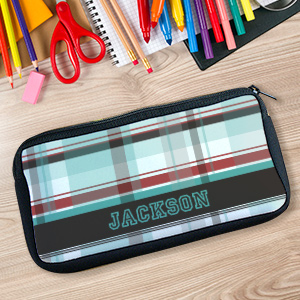 Personalized Blue Plaid Pencil Case U78017