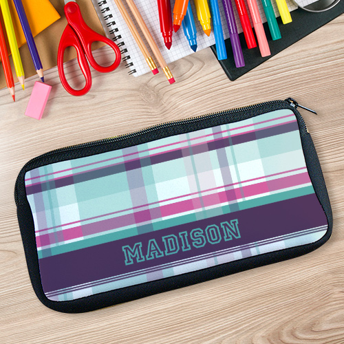 Personalized Purple Plaid Pencil Case U78027