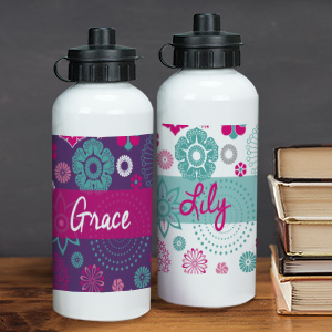 Personalized Floral Water Bottle U780420