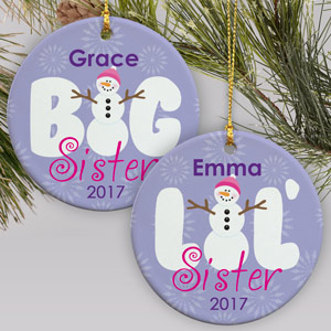 Sister Ceramic Christmas Ornament | Personalized Christmas Ornaments For Kids