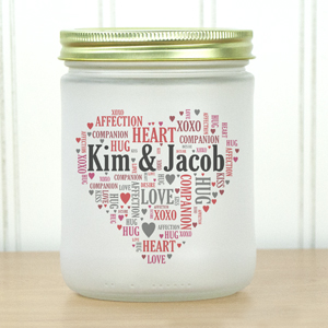 Couples Word-Art Frosted Mason Jar | Personalized Romantic Gifts