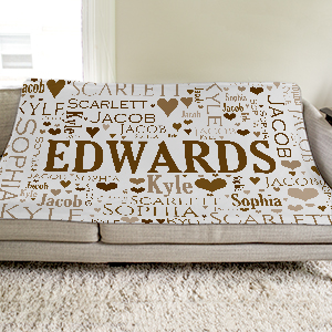 Personalized Family Word-Art Throw | Personalized Blankets