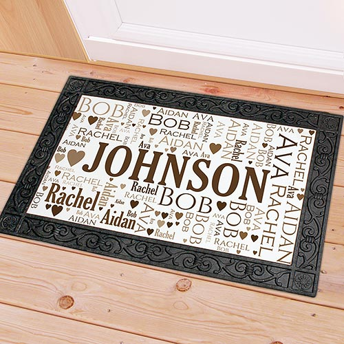 Family Word Art Doormat | Personalized Housewarming Gifts