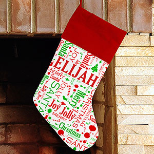 Christmas Word-Art Stocking | Personalized Stocking