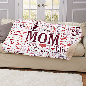 Mom Word-Art Sherpa | Personalized Gifts For Mom